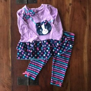 Nannette girls 2 piece cat top pants 12 months